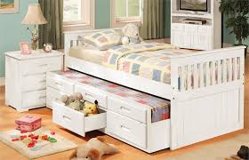 Twin Bed With Pull Out Bed Bedroom Amusing Kids Twin Size Captains Bed With Storage Drawers