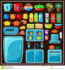 Kitchen Products Set Of Kitchen Furniture Kitchen Items Stock Vector Image