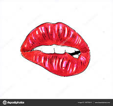 sexy color beautiful sexy woman lips isolated on a white background female red