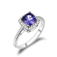 tanzanite wedding rings ct cushion tanzanite engagement ring pave