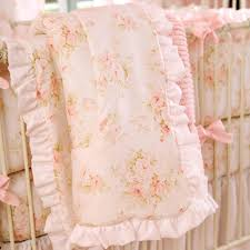 Pink Ruffle Curtains Panels by Shabby Chenille Crib Bedding Pink Floral Baby Crib Bedding