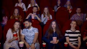 comedy film video clip people watching comedy movie in modern cinema hall stock footage