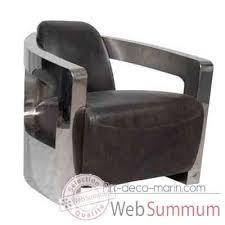 fauteuil club couleur fauteuil mars en cuir couleur café avec finition en acier brillant
