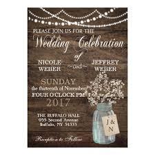rustic wedding invites rustic barn wedding wood jar babys breath card zazzle