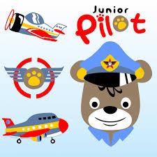 imagenes animadas de aviones piloto animal con aviones dibujos animados de vector descargar