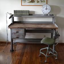 Industrial Computer Desks Industrial Computer Work Desk Table Solid Wood By Urbanreclaimer