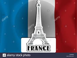 French Flag Eiffel Tower France French Flag Eiffel Tower Vector Illustration Stock Photo