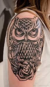 Owl Shoulder - black ink owl with on right shoulder