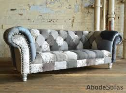 Patchwork Chesterfield - modern and handmade grey mix patchwork chesterfield sofa
