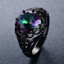 amazon com bamos jewelry womens amazon com junxin round cut black gold mystic big rainbow topaz