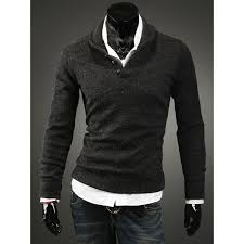 black sweater with white collar turn collar buttons embellished solid color