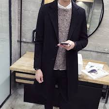 mens winter formal trench coat single breasted overcoat long wool