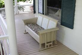 furniture vanilla painted metal porch swing glider with cushion