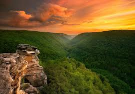 Park West Landscape by Sunset At Blackwater Falls State Park West Virginia Photo One