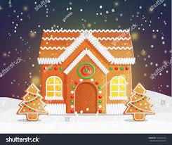 gingerbread house christmas night scene backgound stock vector