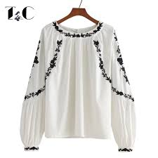 embroidered blouses tc embroidered blouses 2017 autumn back button o neck lantern