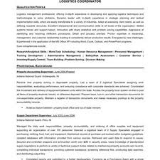 Sample Logistics Coordinator Resume Resume Sales Coordinator Resume