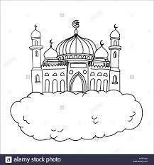 cartoon sketch of mosque on white cloud background for islamic