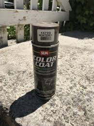 found it spray can plastic paint to match tan oak interior
