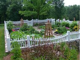 backyard kitchen garden design with stunning white fence concept