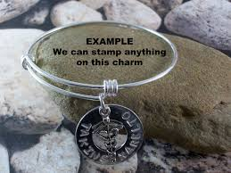 hand charm bracelet images A custom hand stamped charm bracelet expandable adjustable bangle jpg