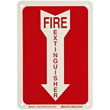 Fire Extinguisher Symbol Floor Plan by Brady 14 In X 3 1 2 In Polyester Fire Extinguisher With Arrow