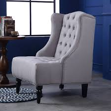 Livingroom Accent Chairs Wingback Accent Chair Tall High Back Living Room Tufted Nailhead
