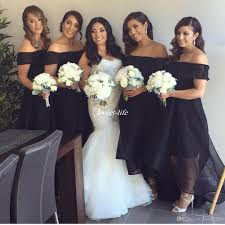 new design black bridesmaid dresses plus size organza front