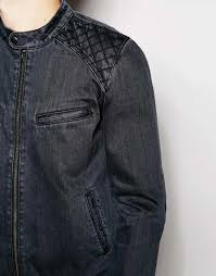 denim motorcycle jacket asos denim biker jacket with quilted shoulder in black for men lyst