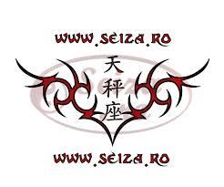 tribal tattoo libra the scale written in ideograms zodiac