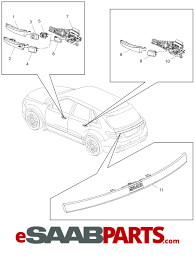 saab 4x led light bar handle tailgate wo rear view diagram image