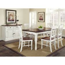 Dining Room White Chairs by Monarch Rectangular Dining Table And Six Double X Back Chairs