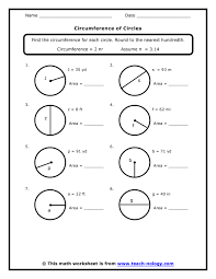 circumference of a circle worksheets 7th grade standard met