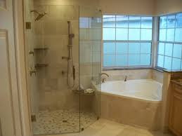 bathroom tub and shower ideas interior white corner bathtub connected by glass shower room and