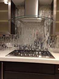 modern kitchen backsplash ideas modern random mixed tile with white glass and textured metal