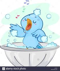 illustration of a cute blue bird singing happily while taking a