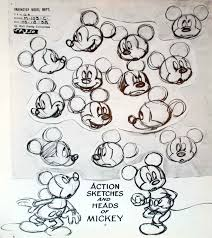 original walt disney model sheet mickey mouse action sketches and