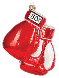 boxing gloves blown glass ornament