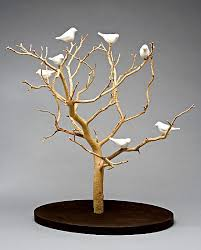 birds in trees tabletop by chris stiles ceramic wood