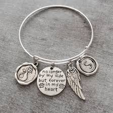 remembrance charms silver bracelet no longer by my side but forever in my heart dog