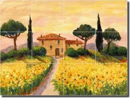 Ceramic Tile Mural Backsplash by Happy Morning Home Tuscan Landscape Ceramic Tile Mural Backsplash