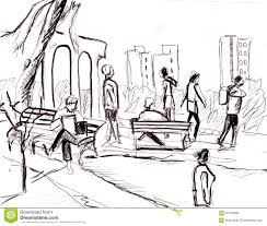instant sketch people in park stock illustration image 62743898