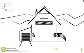 Fast Animated Pencil Sketch Of A Family House In Landscape Black