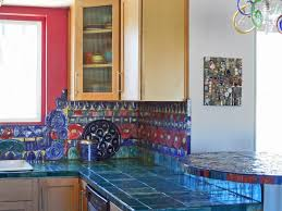 brick accent wall in kitchen porcelain field tile in grayglass