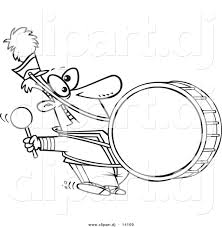 vector of cartoon marching band drummer coloring page outline by