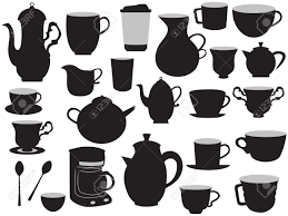 some hand drawing set of coffee pots and cups royalty free