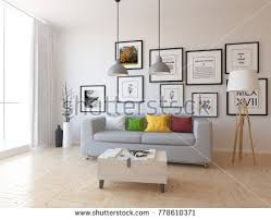 Nordic Home Interiors Idea White Scandinavian Room Interior Sofa Stock Illustration