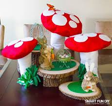 diy fairy garden with giant mushrooms