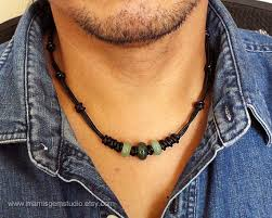 leather mens necklace images Black leather cord green gemstone mens choker necklace jpg
