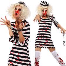 convict halloween costumes scary ladies bloody zombie costume walking dead cosplay halloween